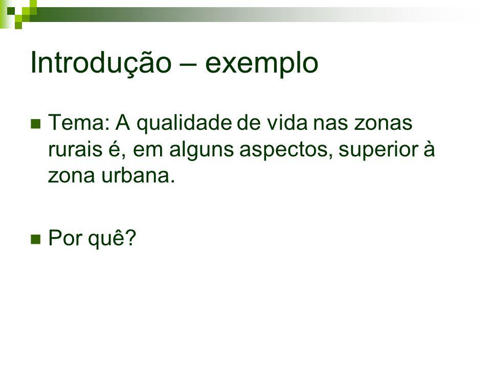 Introdução – exemplo Tema: A qualidade de vida nas zonas rurais é, em alguns aspectos, superior à zona urbana.