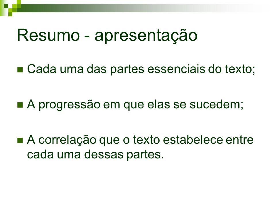 Resumo - apresentação Cada uma das partes essenciais do texto;