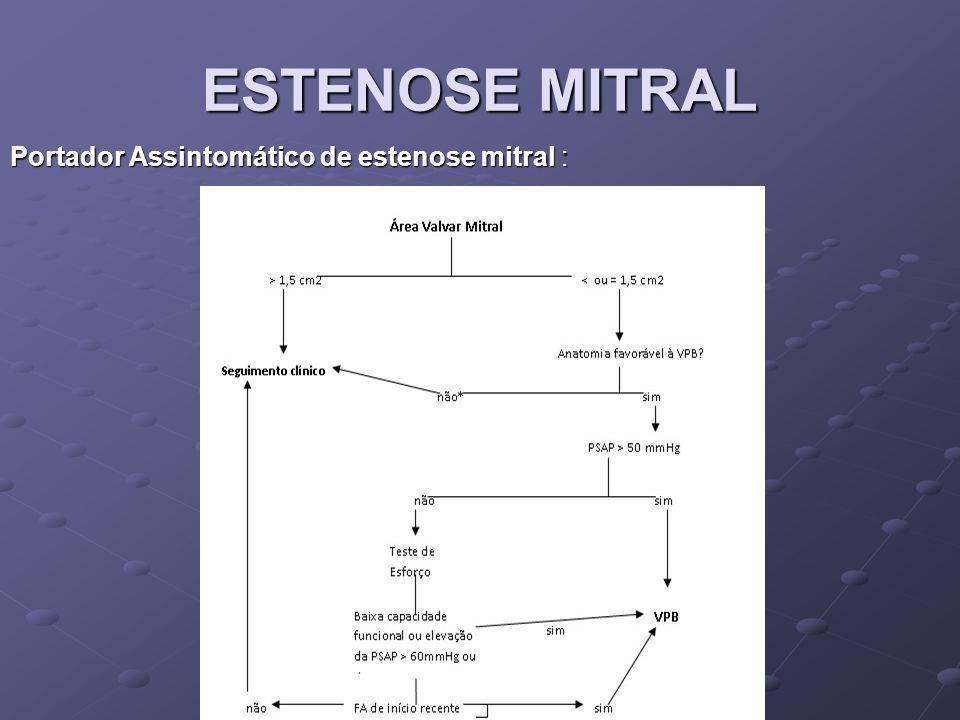 ESTENOSE MITRAL Portador Assintomático de estenose mitral :