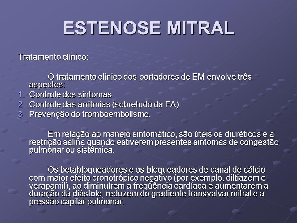 ESTENOSE MITRAL Tratamento clínico:
