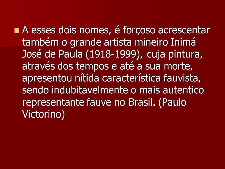 A esses dois nomes, é forçoso acrescentar também o grande artista mineiro Inimá José de Paula (1918-1999), cuja pintura, através dos tempos e até a sua morte, apresentou nítida característica fauvista, sendo indubitavelmente o mais autentico representante fauve no Brasil.