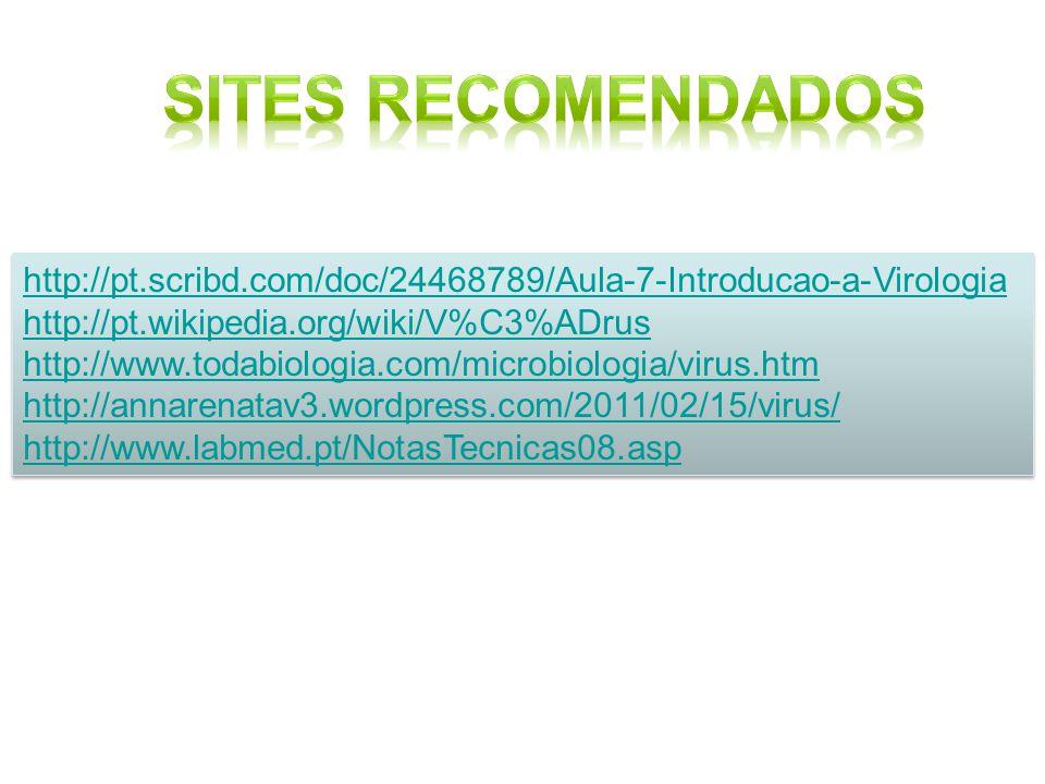 Sites Recomendados http://pt.scribd.com/doc/24468789/Aula-7-Introducao-a-Virologia. http://pt.wikipedia.org/wiki/V%C3%ADrus.