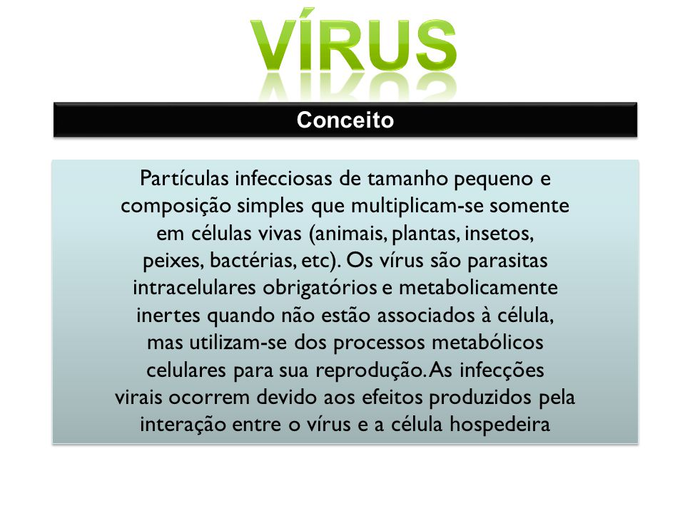vírus Conceito Partículas infecciosas de tamanho pequeno e