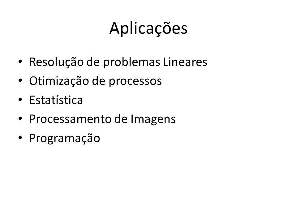 Aplicações Resolução de problemas Lineares Otimização de processos