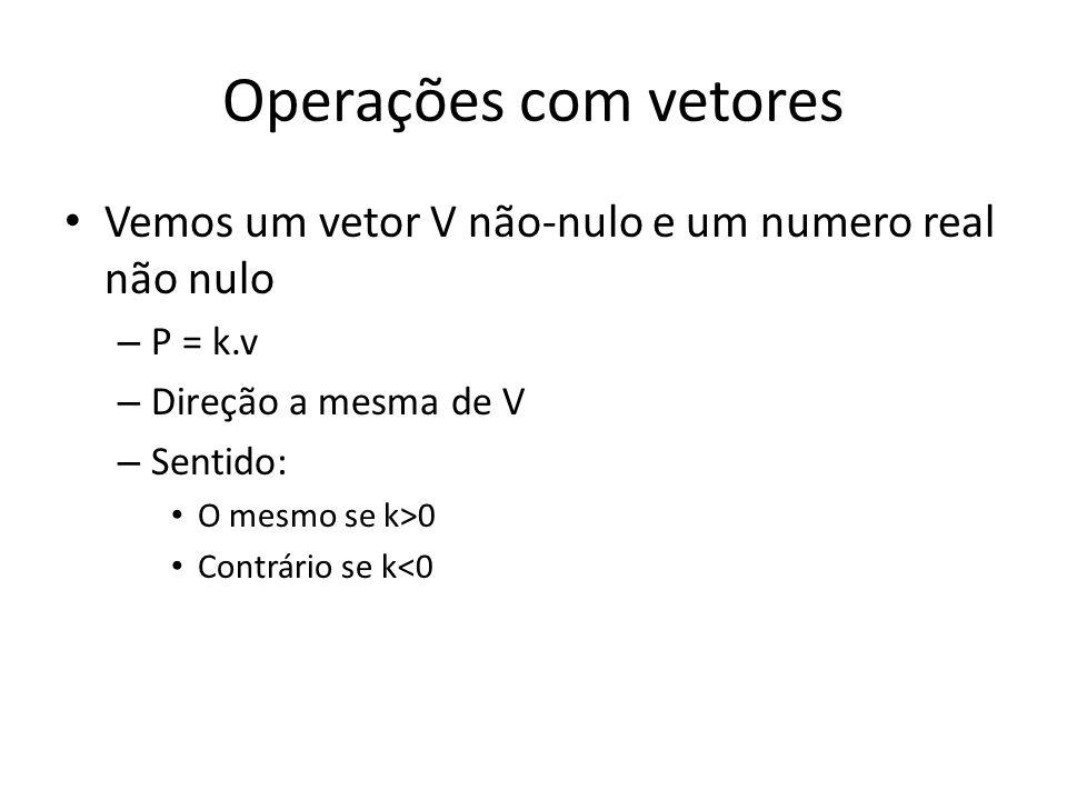Operações com vetores Vemos um vetor V não-nulo e um numero real não nulo. P = k.v. Direção a mesma de V.