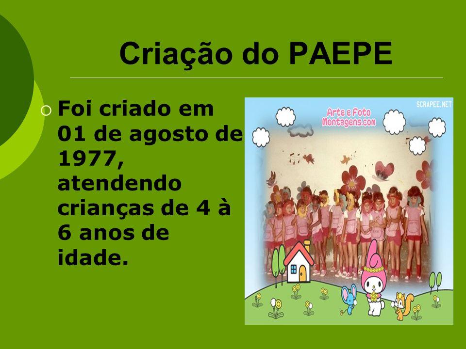 Criação do PAEPE Foi criado em 01 de agosto de 1977, atendendo crianças de 4 à 6 anos de idade.