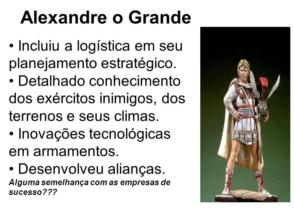 Alexandre o Grande • Incluiu a logística em seu planejamento estratégico.