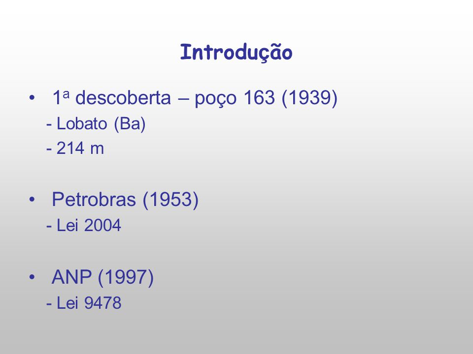 Introdução 1a descoberta – poço 163 (1939) Petrobras (1953) ANP (1997)