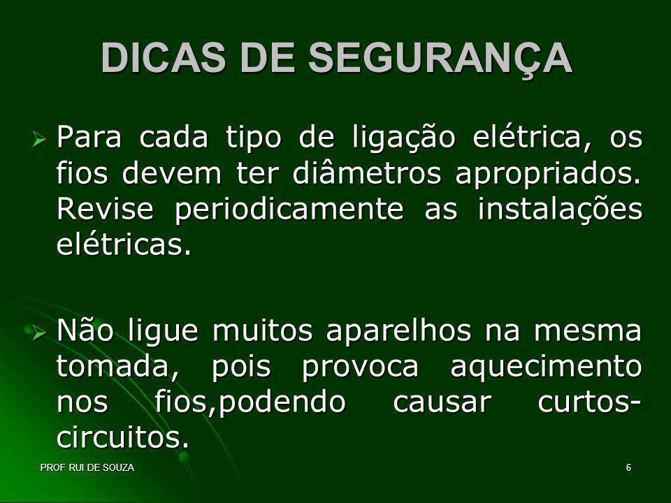 DICAS DE SEGURANÇA Para cada tipo de ligação elétrica, os fios devem ter diâmetros apropriados. Revise periodicamente as instalações elétricas.