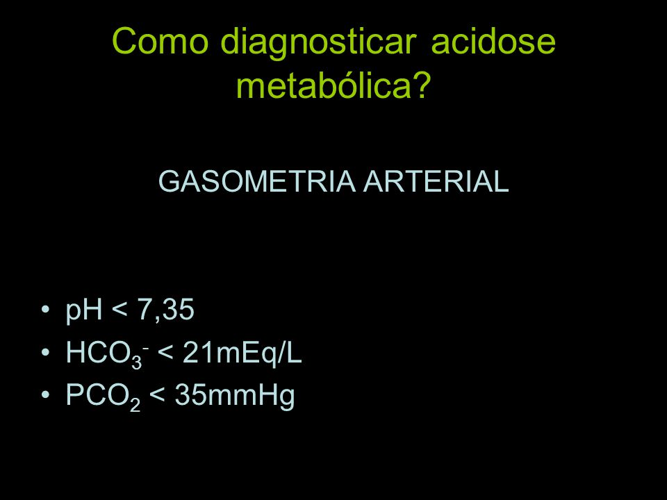 Como diagnosticar acidose metabólica