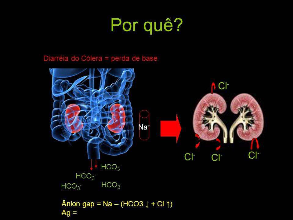 Por quê Cl- Cl- Cl- Cl- Diarréia do Cólera = perda de base Na+ HCO3-