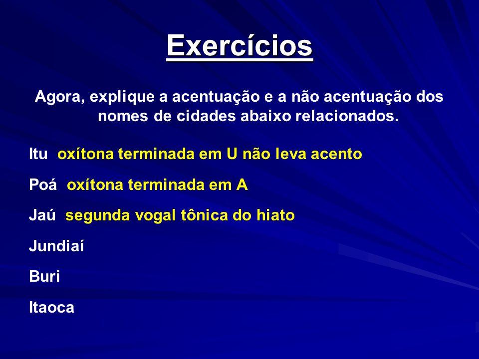 Exercícios Agora, explique a acentuação e a não acentuação dos nomes de cidades abaixo relacionados.