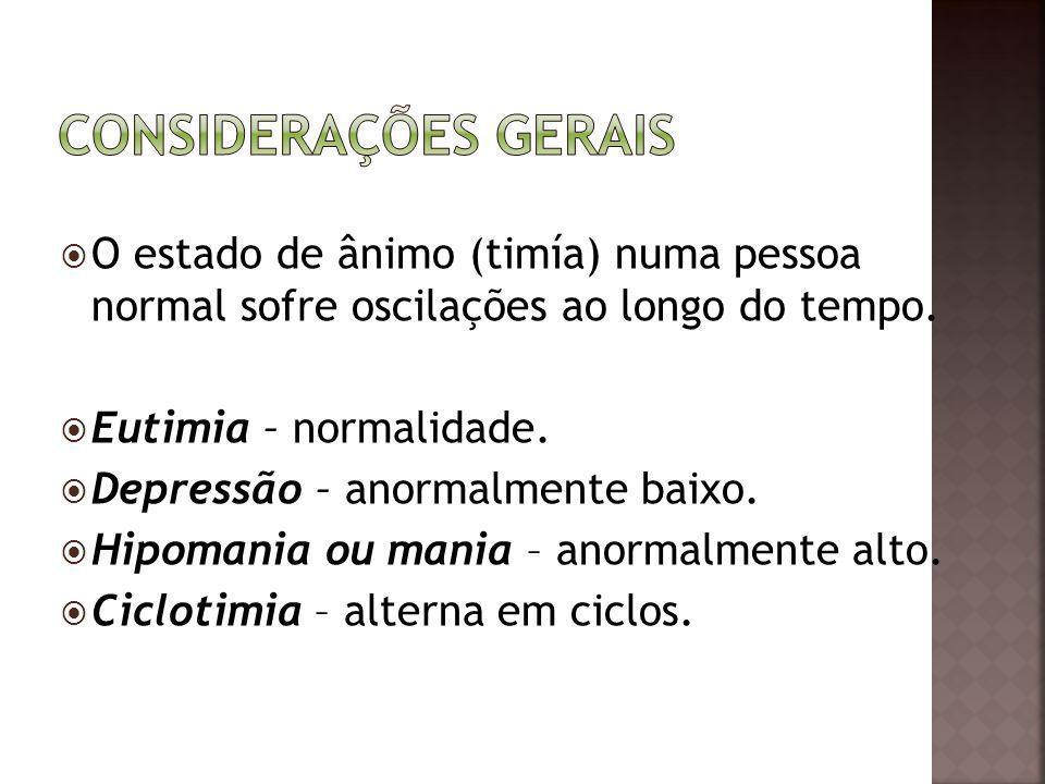 Considerações gerais O estado de ânimo (timía) numa pessoa normal sofre oscilações ao longo do tempo.