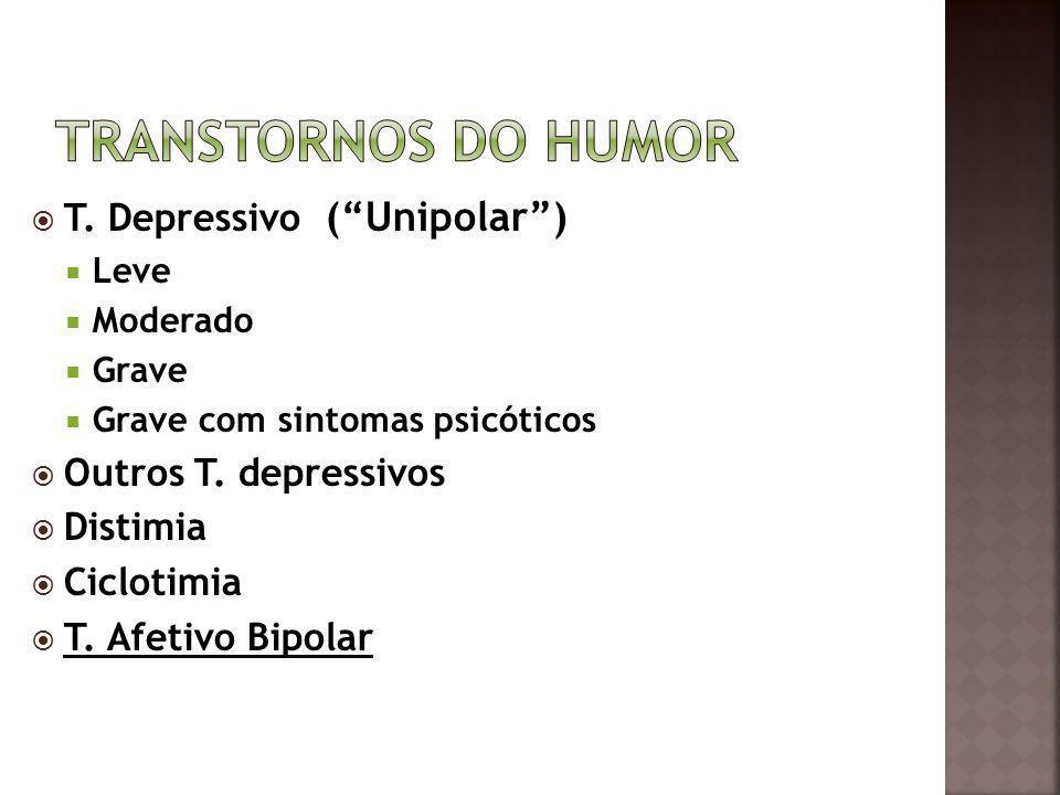 TRANSTORNOS DO HUMOR T. Depressivo ( Unipolar ) Outros T. depressivos