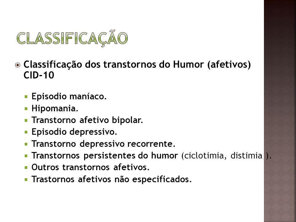 Classificação Classificação dos transtornos do Humor (afetivos) CID-10