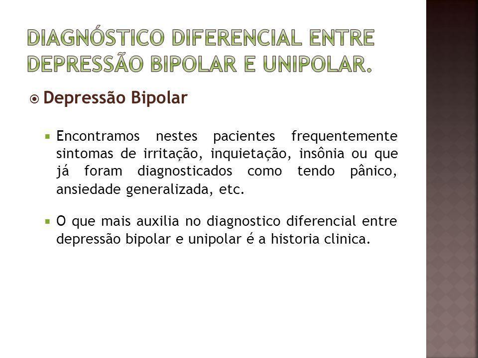 Diagnóstico diferencial entre depressão Bipolar e Unipolar.