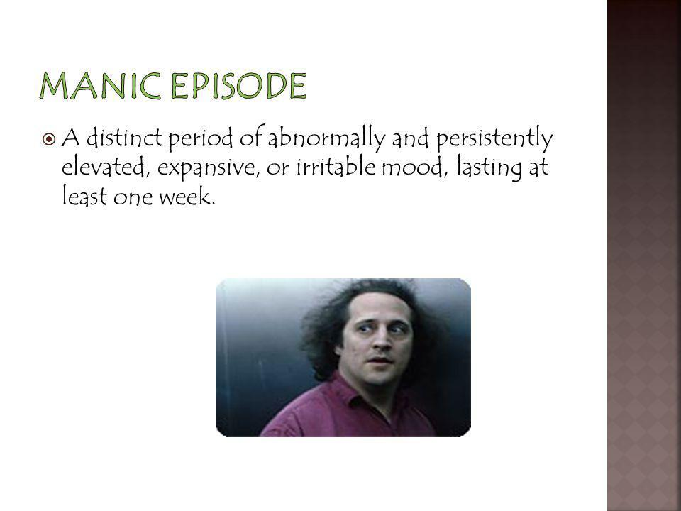 Manic Episode A distinct period of abnormally and persistently elevated, expansive, or irritable mood, lasting at least one week.