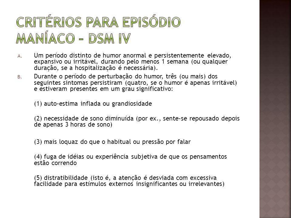 Critérios para Episódio Maníaco – DSM IV