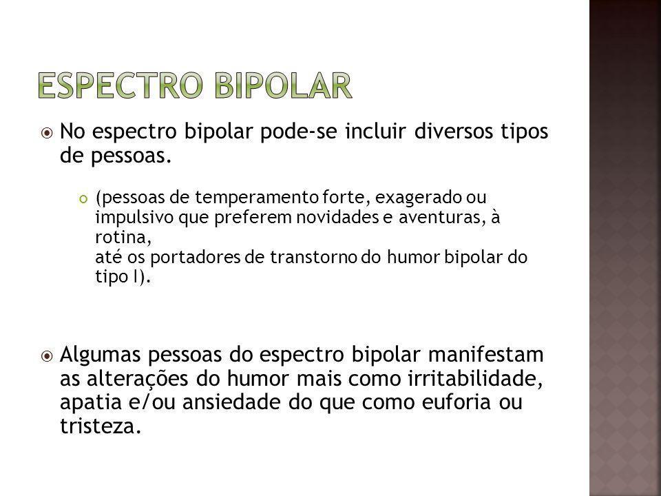 Espectro bipolar No espectro bipolar pode-se incluir diversos tipos de pessoas.
