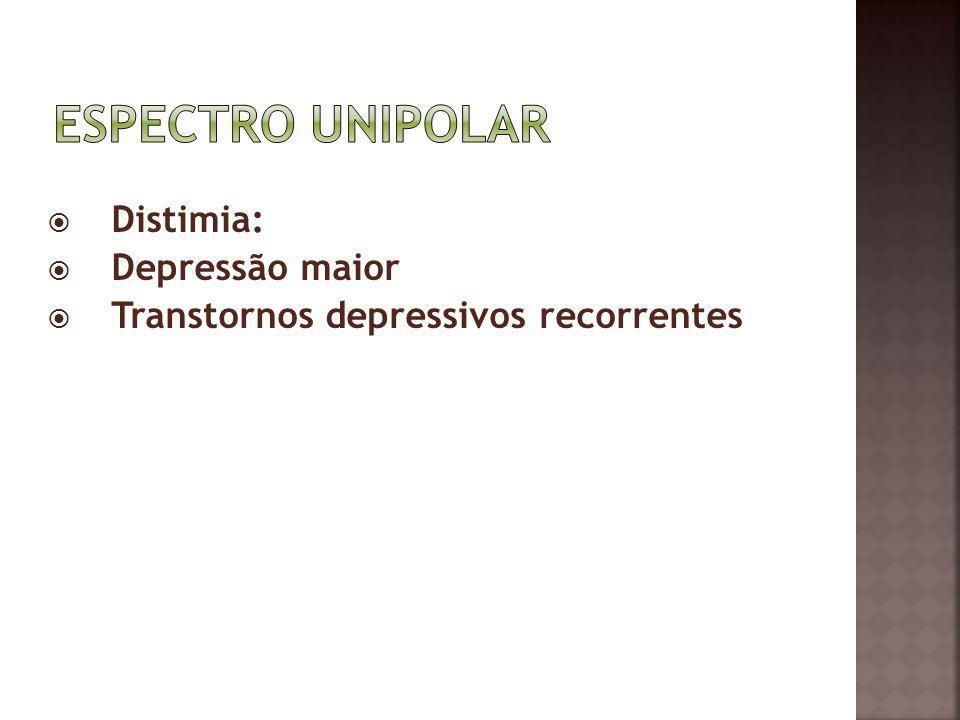 Espectro Unipolar Distimia: Depressão maior