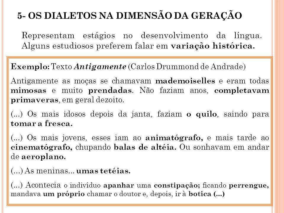 5- OS DIALETOS NA DIMENSÃO DA GERAÇÃO