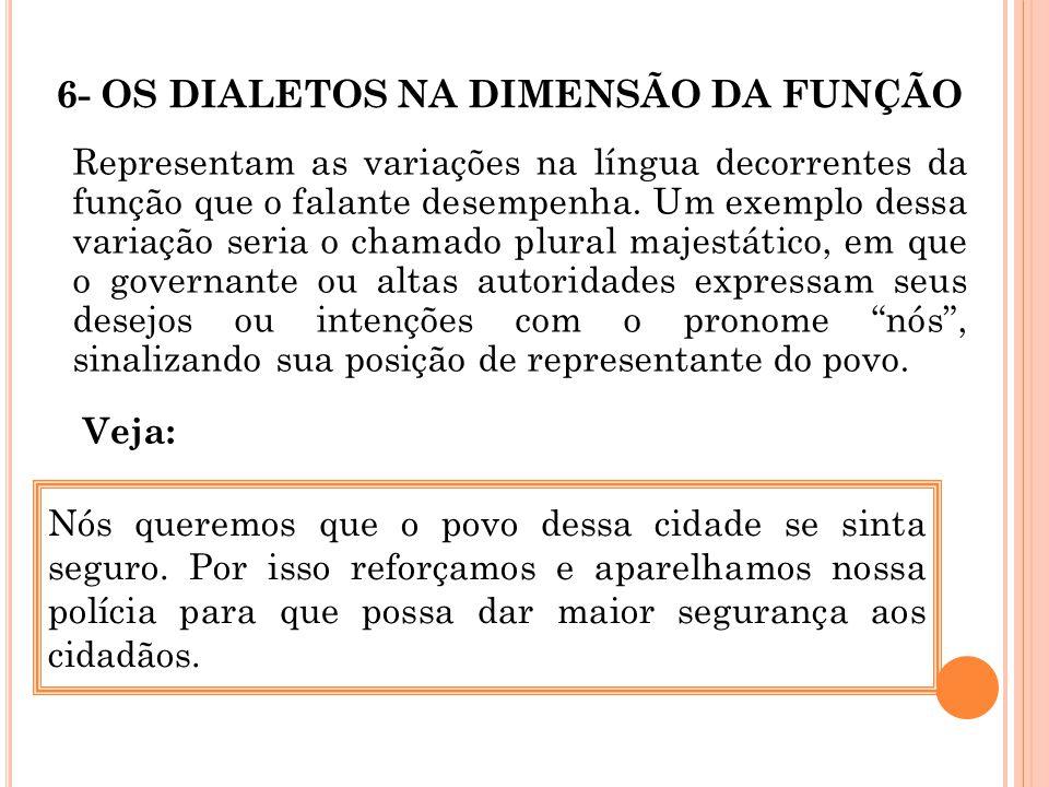 6- OS DIALETOS NA DIMENSÃO DA FUNÇÃO