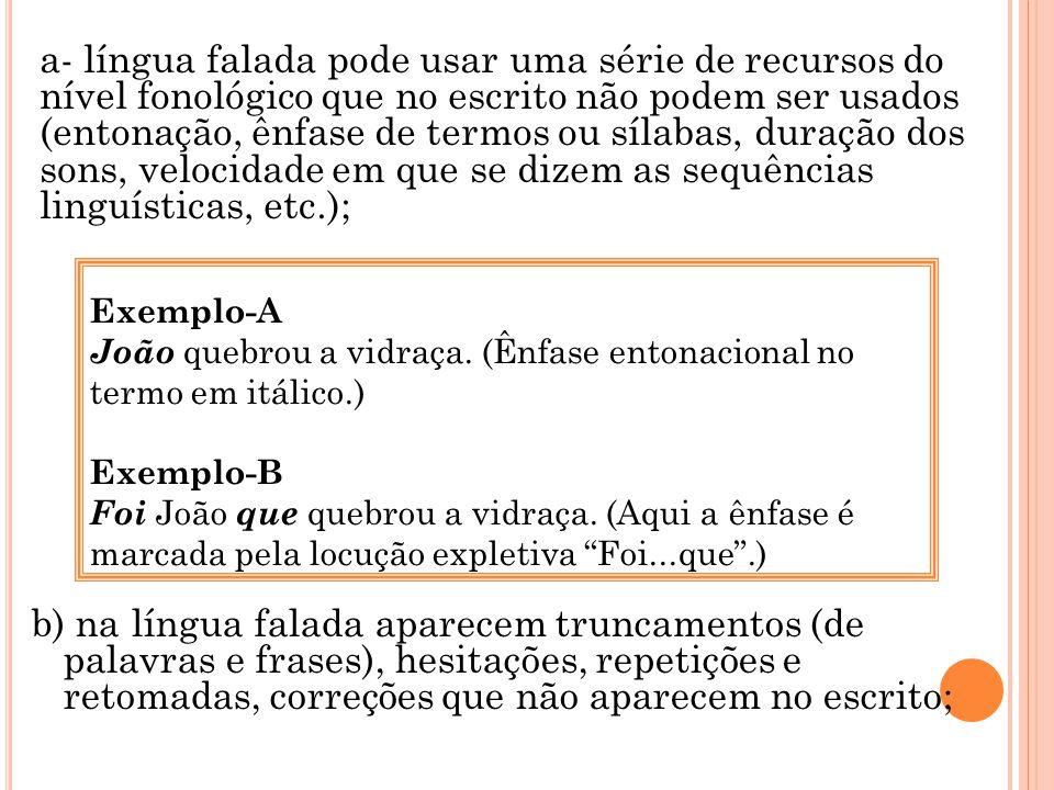 a- língua falada pode usar uma série de recursos do nível fonológico que no escrito não podem ser usados (entonação, ênfase de termos ou sílabas, duração dos sons, velocidade em que se dizem as sequências linguísticas, etc.);