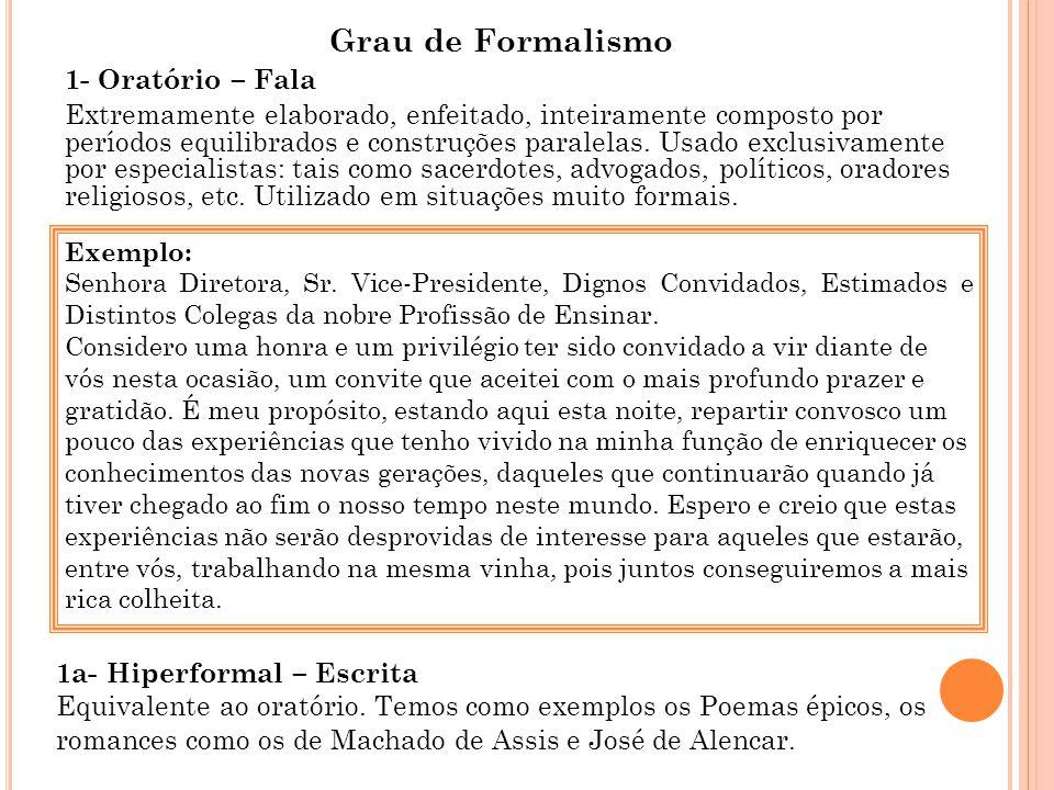 Grau de Formalismo 1- Oratório – Fala