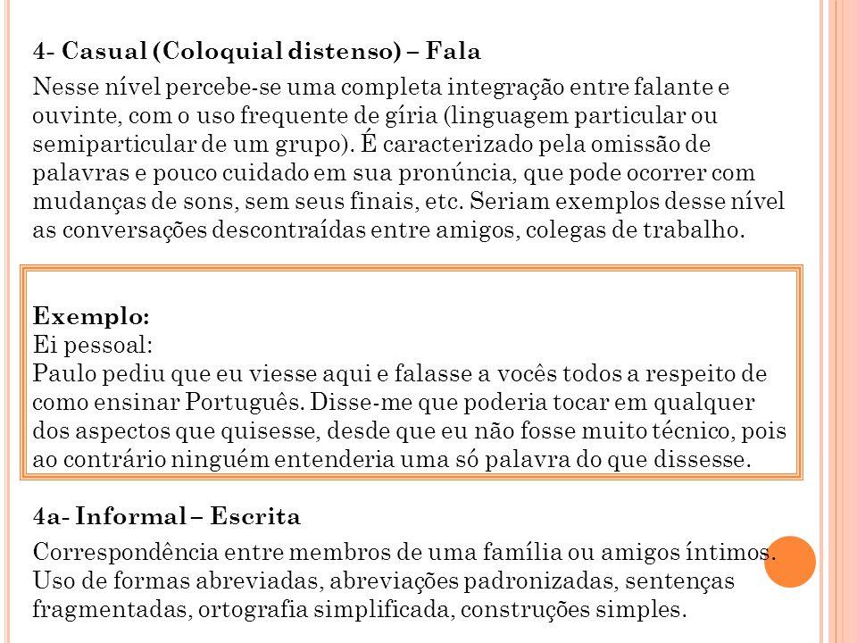 4- Casual (Coloquial distenso) – Fala