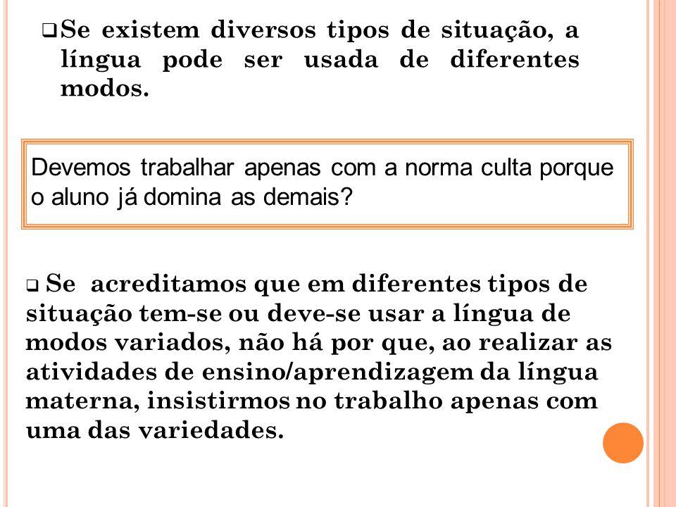 Se existem diversos tipos de situação, a língua pode ser usada de diferentes modos.