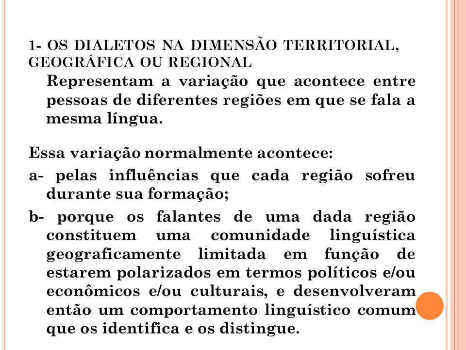 1- OS DIALETOS NA DIMENSÃO TERRITORIAL, GEOGRÁFICA OU REGIONAL
