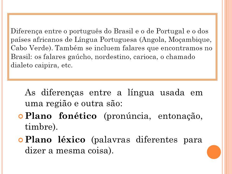 Plano fonético (pronúncia, entonação, timbre).