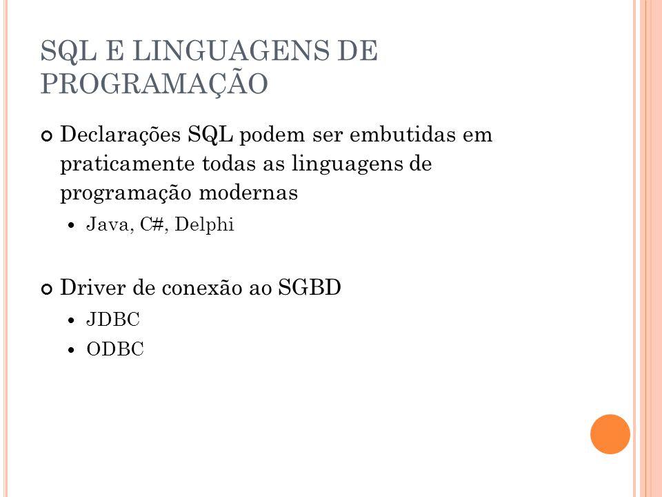 SQL E LINGUAGENS DE PROGRAMAÇÃO