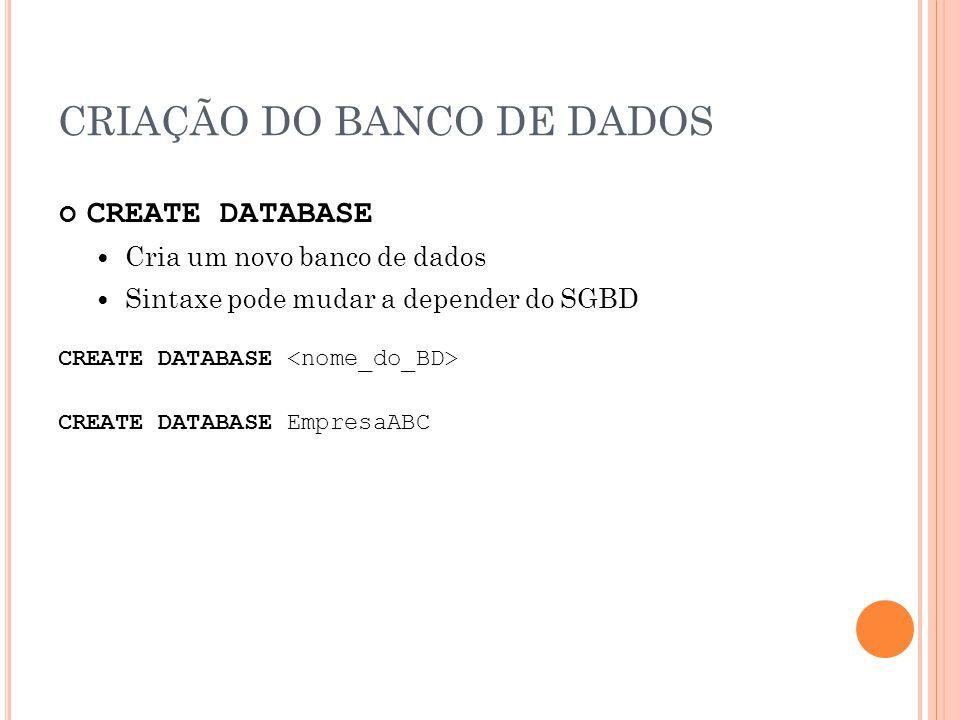 CRIAÇÃO DO BANCO DE DADOS