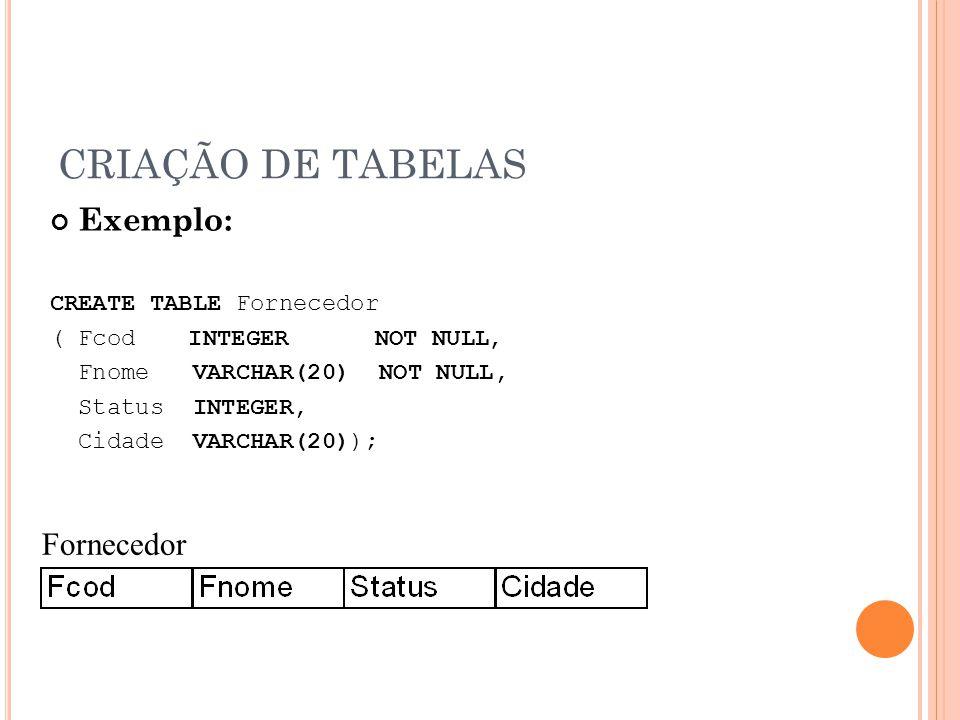 CRIAÇÃO DE TABELAS Exemplo: Fornecedor CREATE TABLE Fornecedor