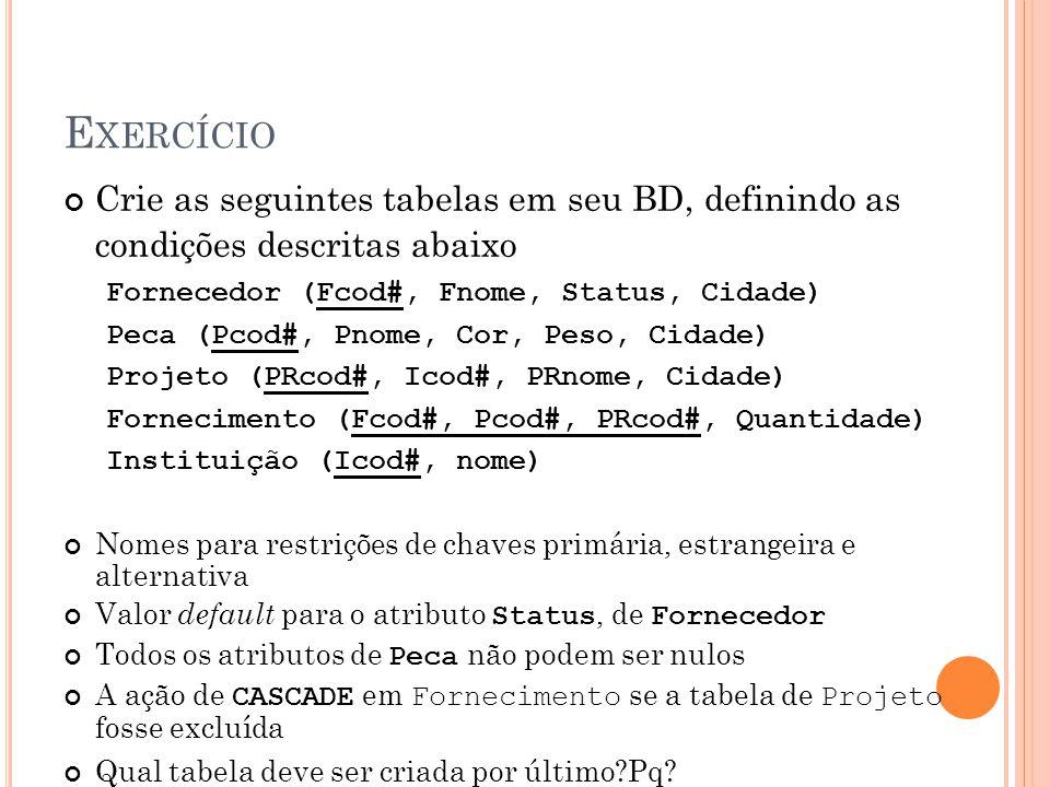 Exercício Crie as seguintes tabelas em seu BD, definindo as condições descritas abaixo. Fornecedor (Fcod#, Fnome, Status, Cidade)