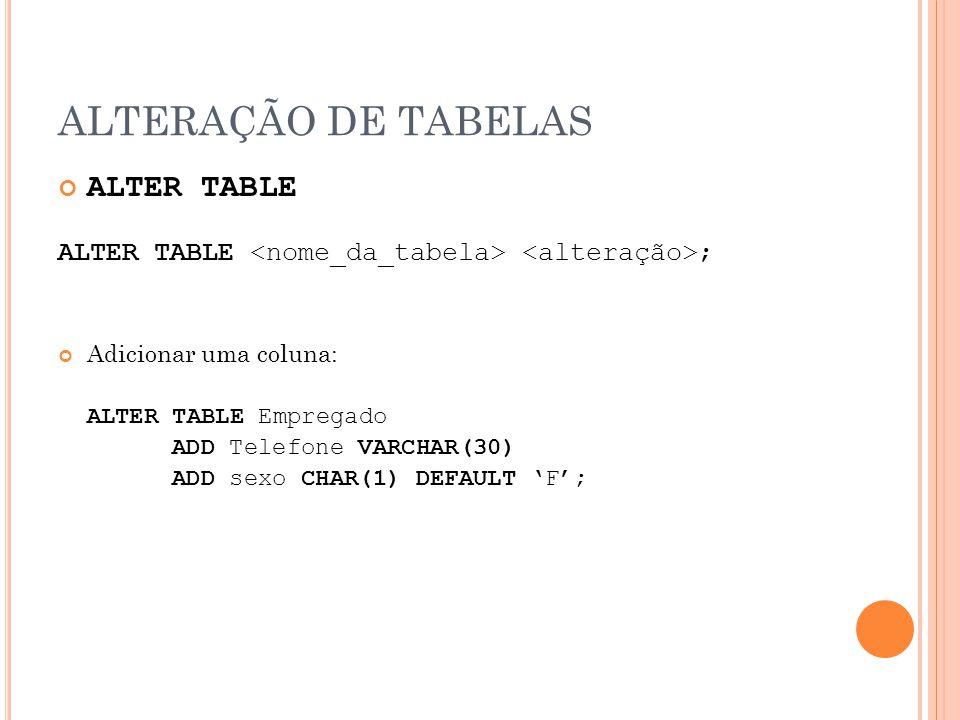ALTERAÇÃO DE TABELAS ALTER TABLE