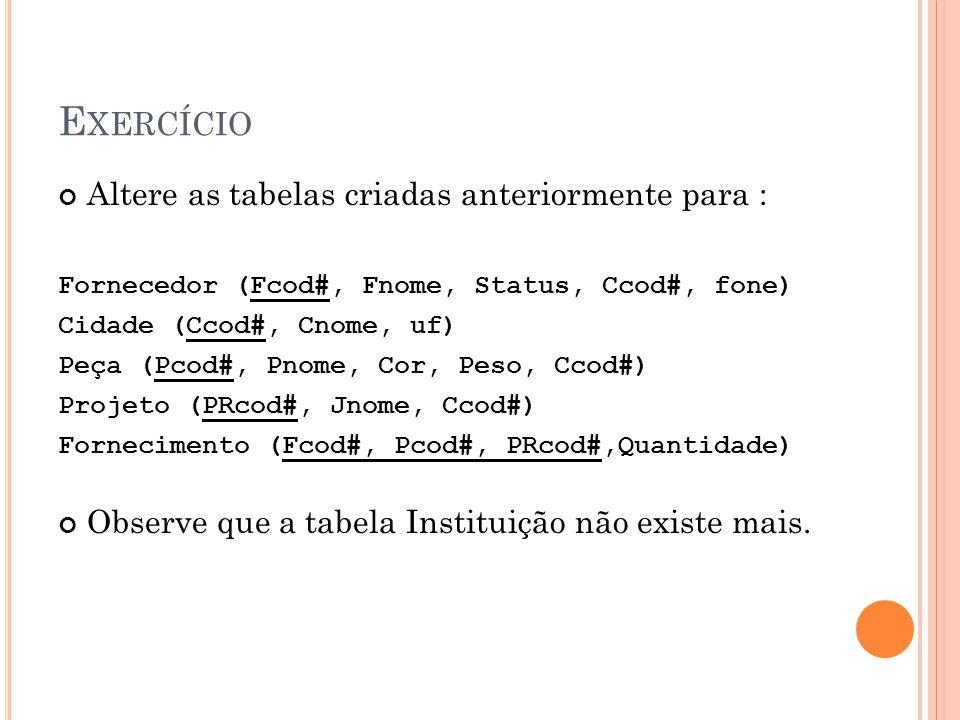 Exercício Altere as tabelas criadas anteriormente para :