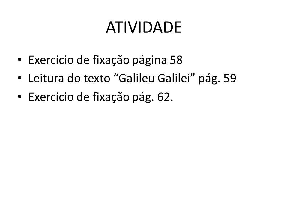 ATIVIDADE Exercício de fixação página 58