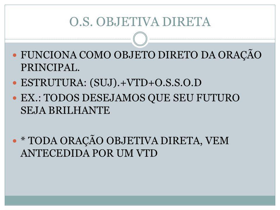 O.S. OBJETIVA DIRETA FUNCIONA COMO OBJETO DIRETO DA ORAÇÃO PRINCIPAL.