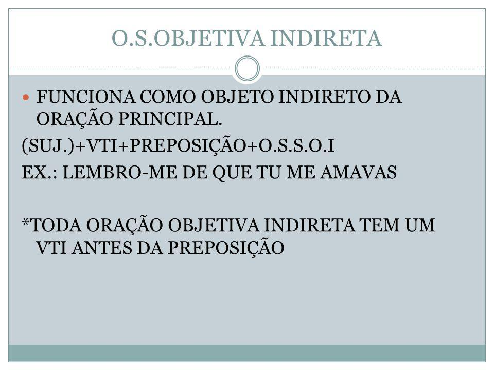 O.S.OBJETIVA INDIRETA FUNCIONA COMO OBJETO INDIRETO DA ORAÇÃO PRINCIPAL. (SUJ.)+VTI+PREPOSIÇÃO+O.S.S.O.I.