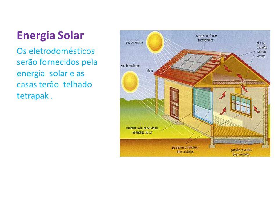 Energia Solar Os eletrodomésticos serão fornecidos pela energia solar e as casas terão telhado tetrapak .