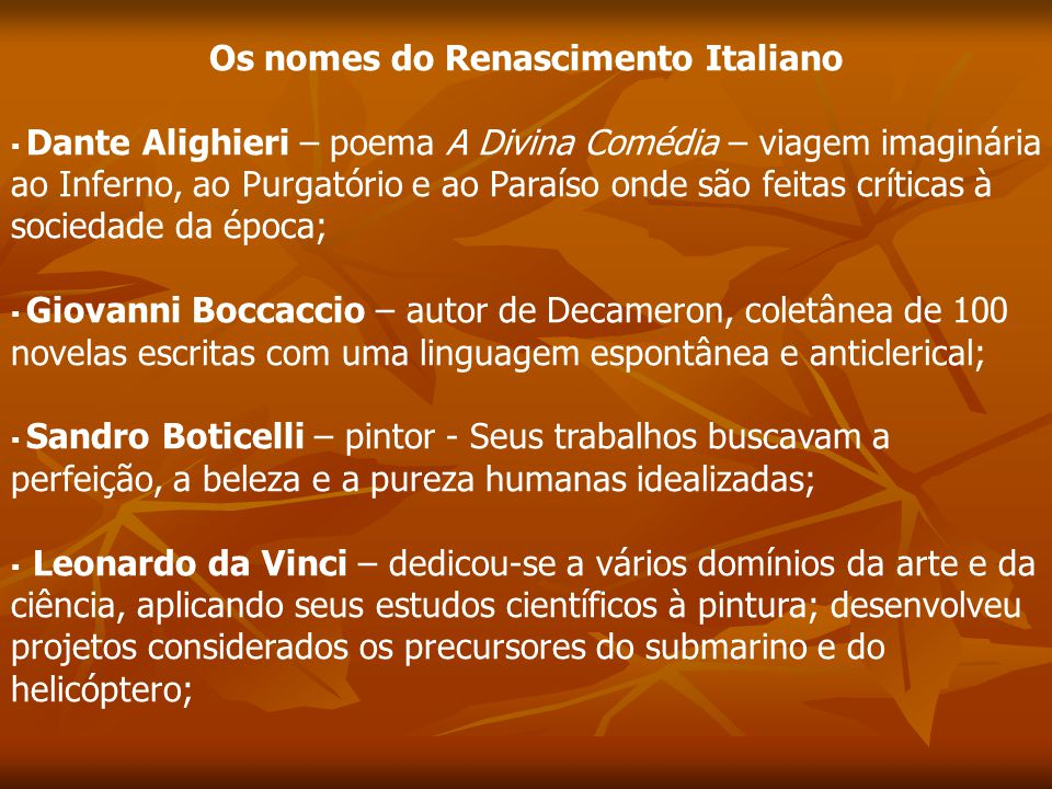 Os nomes do Renascimento Italiano