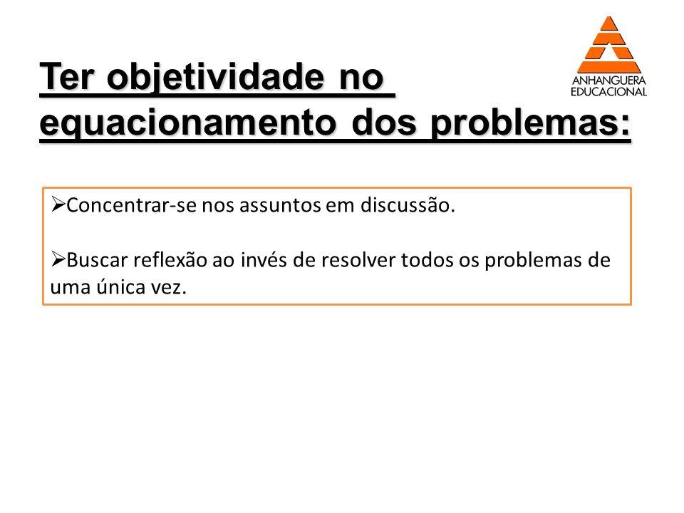 equacionamento dos problemas: