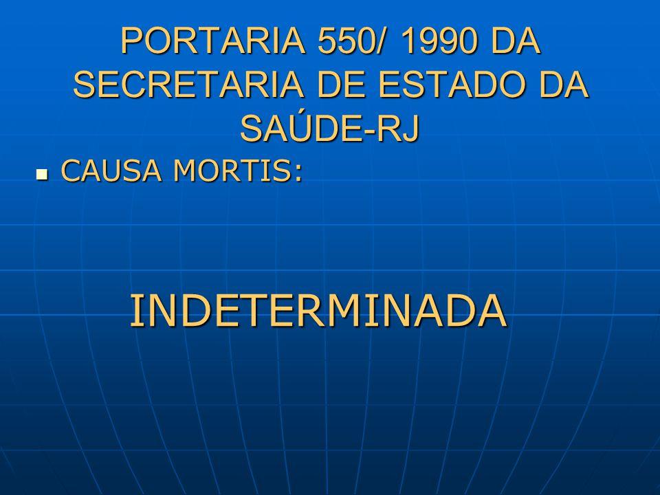 PORTARIA 550/ 1990 DA SECRETARIA DE ESTADO DA SAÚDE-RJ