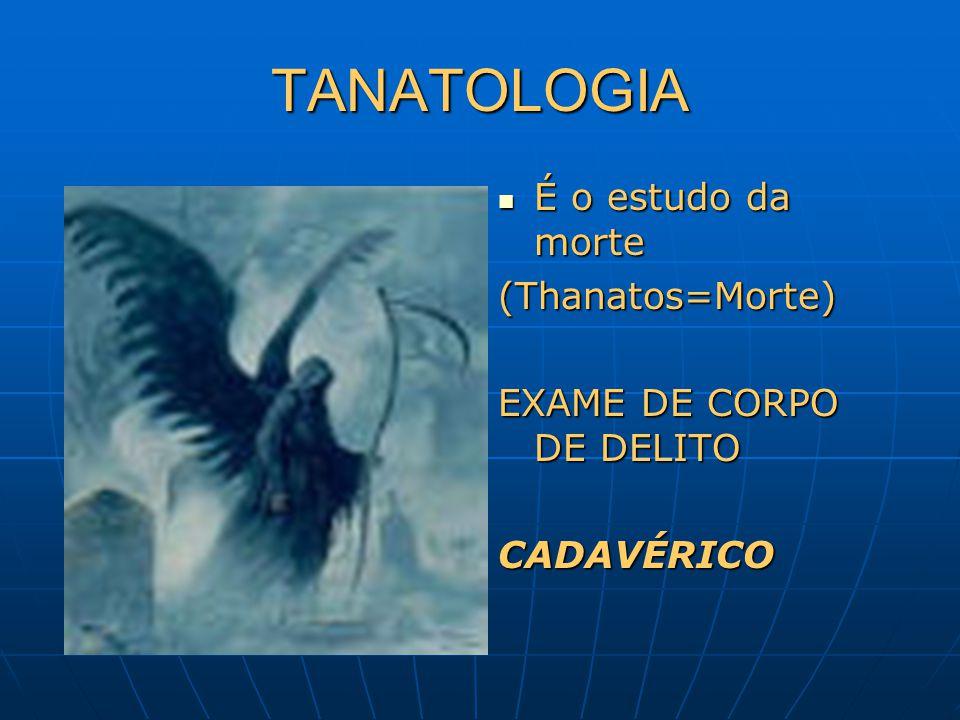 TANATOLOGIA É o estudo da morte (Thanatos=Morte)