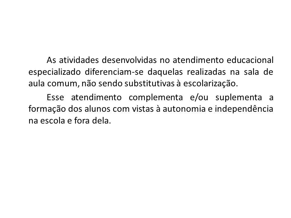 As atividades desenvolvidas no atendimento educacional especializado diferenciam-se daquelas realizadas na sala de aula comum, não sendo substitutivas à escolarização.