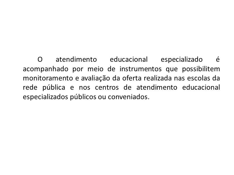 O atendimento educacional especializado é acompanhado por meio de instrumentos que possibilitem monitoramento e avaliação da oferta realizada nas escolas da rede pública e nos centros de atendimento educacional especializados públicos ou conveniados.