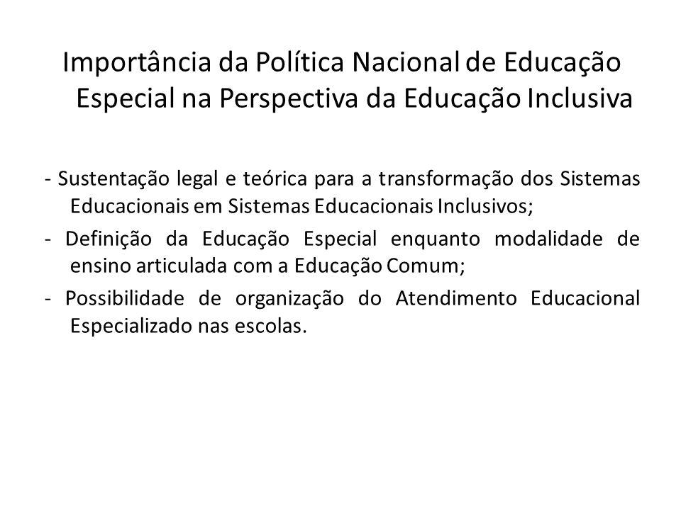 Importância da Política Nacional de Educação Especial na Perspectiva da Educação Inclusiva