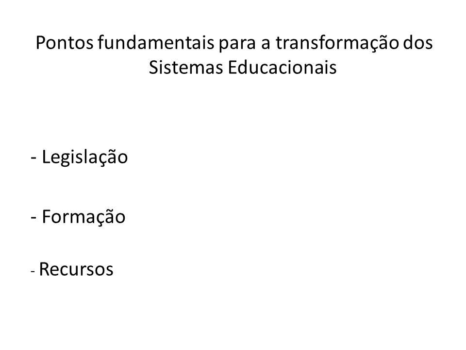 Pontos fundamentais para a transformação dos Sistemas Educacionais
